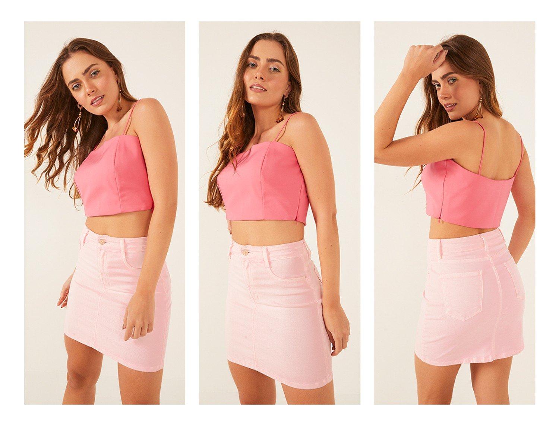 dz7205 com saia jeans feminina tubinho colorida rosa neon pastel denim zero frente trio crop