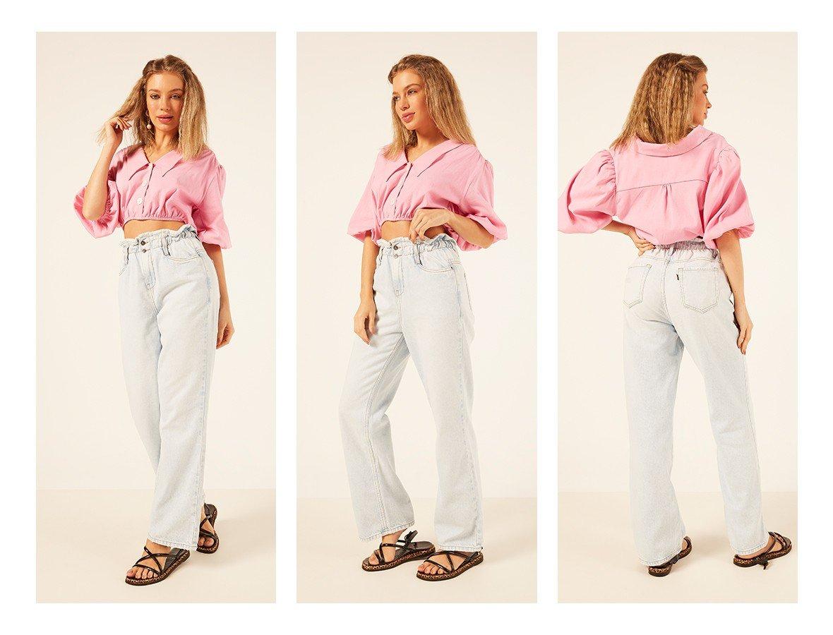 dz3924 alg calca jeans feminina wide leg max clochard denim zero trio