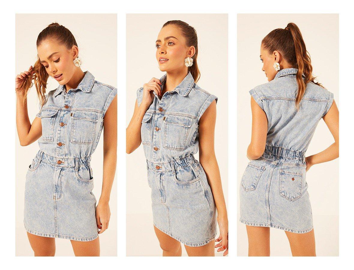 dz12093 alg vestido jeans feminino curto com elastico na cintura denim zero trio