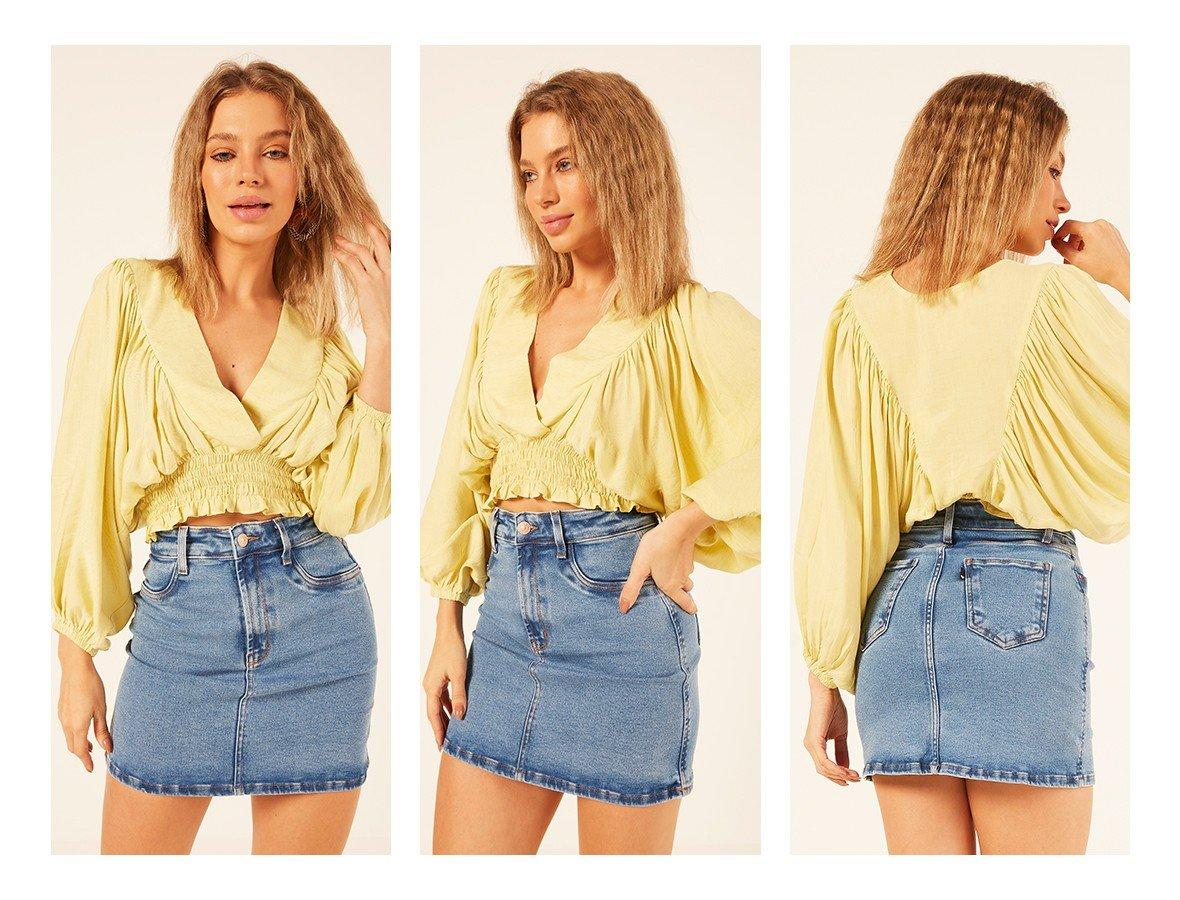 dz7221 com saia jeans feminina tubinho tradicional denim zero trio